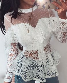 Sheer Mesh Floral Lace Ruffles Blouse We Miss Moda is a leading Women's Clothing Store. Offering the newest Fashion and Trending Styles. Ruffles, Lace Ruffle, Ruffle Blouse, Leder Outfits, Trend Fashion, Women's Fashion, Shirt Blouses, Shirts, Womens Fashion Online