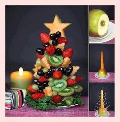 Tutorial to make edible fruit Christmas tree! - a healthy Christmas breakfast option? Fruit Christmas Tree, Christmas Tree Crafts, Noel Christmas, Christmas Goodies, Christmas Baking, Simple Christmas, Christmas Decorations, Christmas Buffet, Christmas Snacks