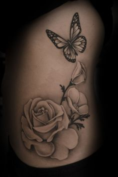 Image result for realistic butterfly flower tattoo