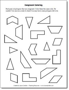 Congruent Coloring Freebie - Students have to find pairs of congruent shapes and color them the same color. Some shapes pairs are tricky so students will need to measure sides and angles to verify their congruent matches. More challenging than it looks! Math Worksheets, Math Resources, Geometry Worksheets, Math Stations, Math Centers, Math School, School Fun, School Ideas, Math Measurement