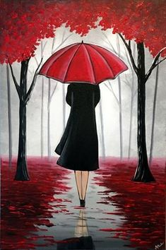 A stunning painting that will look amazing on any wall. A lady walks through the enchanted looking red woods underneath her umbrella. Various shades of greys highlight the distant trees and works beautiful with the redness of the umbrella and the leaves s Umbrella Painting, Umbrella Art, Watercolor Canvas, Canvas Art, Art Vintage, Photography Themes, Simple Acrylic Paintings, Beginner Painting, Impressionism Art