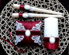 """Купить Свадебные свечи семейный очаг """"Марсала"""" - бордовый, свечи ручной работы, Свечи"""