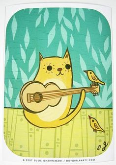 "Bright happy art print of a cat playing guitar for some bird friends! Signed art print from the ""Musical Chairs"" series of paintings by Susie Ghahremani"