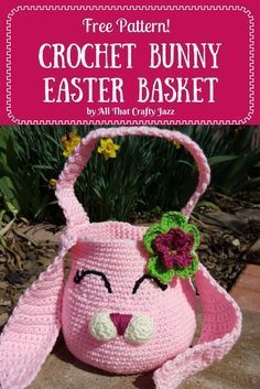 Free Crochet Bunny Easter Basket Pattern, by All that Crafty Jazz. Easy to read pattern with pictures!