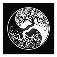 White and Black Tree of Life Yin Yang Custom Invite............. perhaps with 3 leaves/ birds