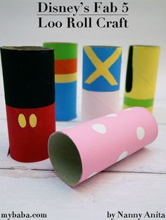 Disney's Fab 5 Loo Roll Craft | Nanny Anita | My Baba Original Disney Characters, Junk Modelling, Crafts For Kids, Arts And Crafts, Mickey Mouse Club, Chip And Dale, Daisy Duck, Imaginative Play, Sensory Play