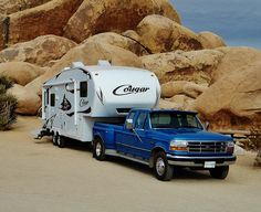 Fifth Wheel Travel Trailer Towing Tips - http://www.loveyourrv.com/fifth-wheel-travel-trailer-towing-tips/ #Trailer #Towing #tips