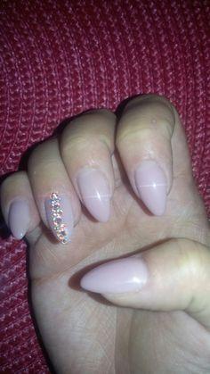 #simple #pink #crystals #nude #myoctobernails