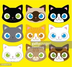 Illustration of Vector Set Of Different Adorable Cartoon Cats Faces vector art, clipart and stock vectors. Silhouette Clip Art, Silhouette Images, Hipster Cat, Cat Icon, Kawaii Cat, Cartoon Faces, Animal Faces, Free Illustrations, Creative Illustration