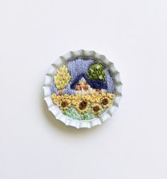 Miniature hand embrodiered sun flowers landscape by BaobapHandmade, $30.00