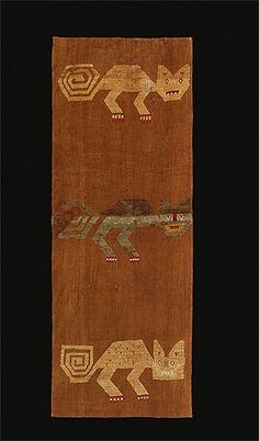textile with cat design 1200-1450 AD / Chancay culture Peru
