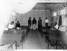 Interior of one of the hospital wards at the German internment camp at Holsworthy in 1916.