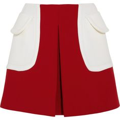 Miu Miu Color-block wool-twill mini skirt found on Polyvore