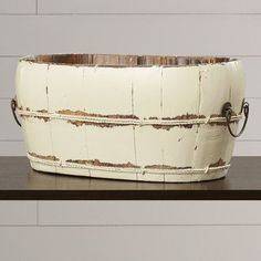 August Grove Mallette Oval Sink Bucket with Iron Handles Color: Butter