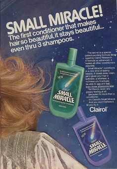 used the purple bottle of Small Miracle conditioner with the green bottle of Body on Tap shampoo...smelled so good! Body On Tap Shampoo, Vintage Advertisements, Vintage Ads, Vintage Stuff, Retro Hairstyles, Back In The Day, Vintage Magazines, Remember The Time, Vintage Photographs