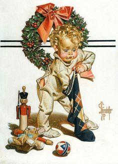 1938 J C Leyendecker Christmas Toys Nutcracker Stocking SAT Evening Post Illustration Noel, American Illustration, Christmas Illustration, Illustrations, Peintures Norman Rockwell, Norman Rockwell Art, Norman Rockwell Paintings, Christmas Pictures, Christmas Art