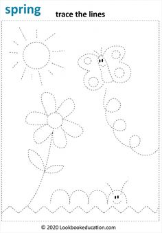 Trace the lines of the flower, sun, butterfly and caterpillar. First grade or preschool worksheet. Line Tracing Worksheets, Summer Worksheets, English Worksheets For Kids, Kindergarten Math Worksheets, Tracing Lines, Daycare Curriculum, Free Worksheets, Preschool Writing, Free Preschool
