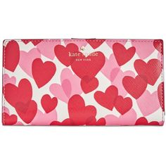 kate spade new york Yours Truly Printed Stacy Wallet (€83) ❤ liked on Polyvore featuring bags, wallets, heart party, vegan leather wallet, vegan bags, kate spade, faux leather wallet and red party bags