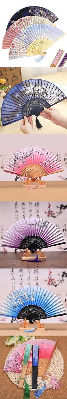 CocoStore Ladies Silk Folding Fan Plum Blossom Sakura Printed Bamboo Fans Japanese Style Color Random