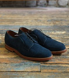 Indigo Suede Plain-toe Blucher