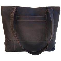 Piel Leather Top-Zip Tote, Chocolate, One Size