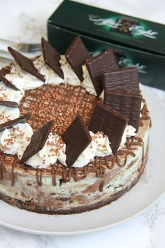 A Dark Chocolate and Mint Cheesecake full of After Eights. With a Buttery Biscuit Base, and Delicious Decoration, my new favourite… No-Bake After Eight Cheesecake!...