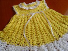 vestidos de croche infantil amarelo - Pesquisa Google