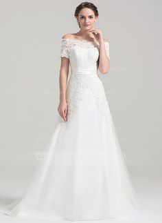 [US$ 222.19] A-Line/Princess Off-the-Shoulder Court Train Tulle Lace Wedding Dress (002084743)