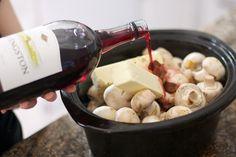 livelovepasta | Crock Pot Burgundy Mushrooms | http://livelovepasta.com- Pioneer Woman mushrooms in the slow cooker