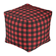 Lumberjack Style Red Fabric Your Ideas Pouf Zazzle
