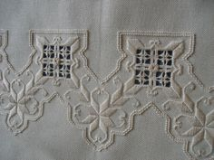 Intersection of woven bars is embellished. Types Of Embroidery, Learn Embroidery, White Embroidery, Embroidery Patterns, Hand Embroidery, Hardanger Embroidery, Cross Stitch Embroidery, Drawn Thread, Satin Stitch