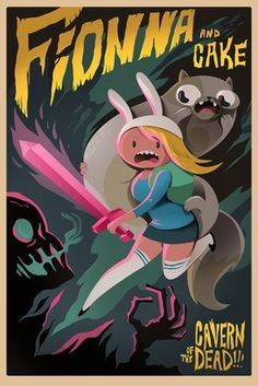 Adventure Time - Fionna and Cake Art Poster - 11x17 Print
