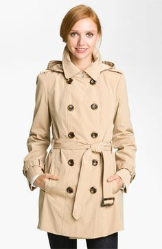Calvin Klein Double Breasted Trench Coat  (Nordstrom Exclusive) Has removable hood and removable liner.