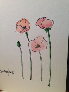 Poppy Watercolor Card by gardenblooms on Etsy, $3.50