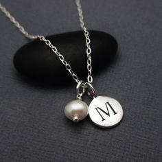 Letter M Necklace Sterling Silver Initial M by themoonflowerstudio
