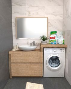 Bathroom furniture for washing machine and countertop sink - XLAB Design - Bathroom Wall Panels, Bathroom Wall Decor, Bathroom Styling, Bathroom Furniture, Bathroom Storage, Bathroom Organization, Ikea Bathroom, Boho Bathroom, White Bathroom