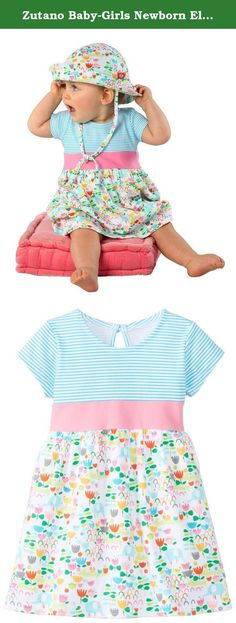 Zutano Baby-Girls Newborn Elephantasia Banded Waist Dress, White, 3 Months. This new zutano dress for baby is a great choice for your next special occasion. It features cap sleeves and a pretty neckline with a keyhole button at the back for easy dressing. A stripe top meets a solid empire waist while the full skirt features a fun spring print. Great for layering over leggings or diaper covers.