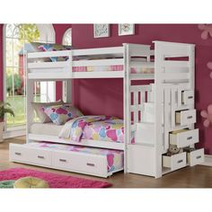 Acme Allentown White Storage Ladder Youth Kids Twin over Twin Staircase Trundle Bunk Bed