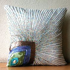 Peacock Beauty - 16x16 inches Decorative Pillow Covers - Silk Pillow Cover Embellished with multi Color Sequins & Beads
