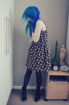 voodoo blue and atomic turquoise manic panic hair dye.