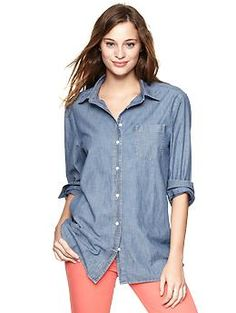 Chambray boyfriend pocket shirt | Gap  This really is a MUST HAVE in your wardrobe. Gap option looks good!