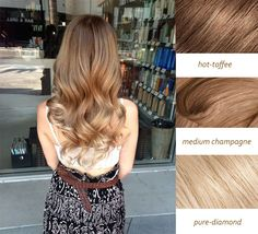 beautiful sun-kiss hair color with hot coffee medium champagne and pure diamond colors