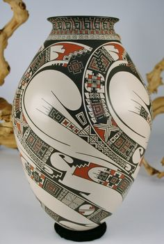Mata Ortiz Pottery Damian Quezada Extra Large Five Sided Symmetrical Design Olla, cerámica México
