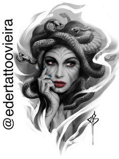 Medusa Tattoo Design, Tattoo Designs, Tattoo Studio, Photoshop Tattoo, Ozzy Tattoo, Inner Bicep Tattoo, Mujeres Tattoo, Tattoo Trash, Medusa Art