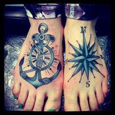 Tiny Anchor Compass Tattoo On Feet | Tattoo Styles