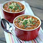 Lentil Chili This vegan chili recipe smells and tastes delicious—try it by itself or poured over a golden baked potato!This vegan chili recipe smells and tastes delicious—try it by itself or poured over a golden baked potato! Chili Recipes, Veggie Recipes, Whole Food Recipes, Diet Recipes, Vegetarian Recipes, Cooking Recipes, Healthy Recipes, Recipies, Whole Plant Based Diet