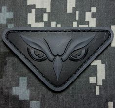 OWL-HEAD-PVC-TACTICAL-INTEL-MILITARY-MORALE-ISAF-USA-DARK-OPS-VELCRO-PATCH