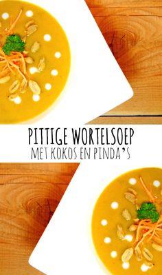 Pittige wortelsoep met kokos en pinda's. Helemaal vegetarisch & vegan! :)