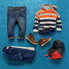 Boys' fashion | Kids' clothes | Striped sweater | Hooded top | Trapper hat | Utility jacket | Hi-top boat shoes | The Children's Place