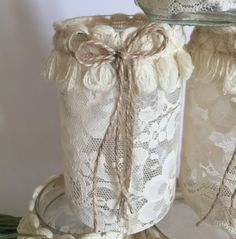 Amazing set of 6 masons jars with candle, covered with real lace cream-colored, embellished by a fine woven band with wool little tassels cream.  Original, elegant, it creates a unique and romantic atmosphere, suitable for any occasion and place .........Ideal for a gift idea, as a centerpiece or simply as ornament for your home. Particularly suitable for finishing the tables of a restaurant, a bistro, a bar or for the wedding table...... it creates a warm and welcoming space.  Diameter, 6…
